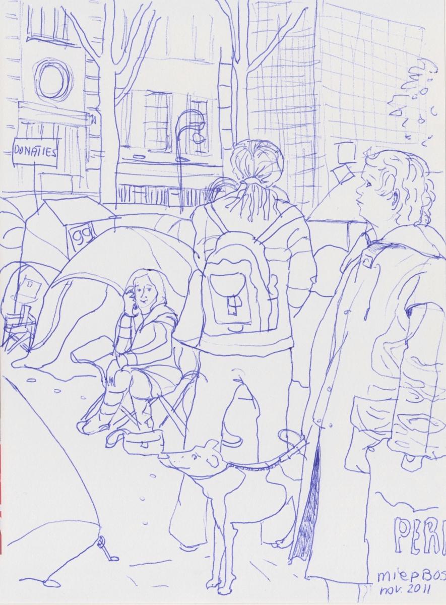 Occupy-meetingpoint-Beursplein-Miep-Bos-pen-in-blauw-1-2011