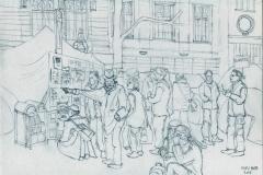Occupy Amsterdam potlood Miep Bos, aangekocht