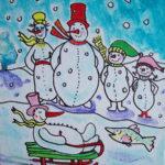 Sneeuwmannen sneeuwpret