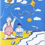 Kerstkaart sneeuwmensen op het strand