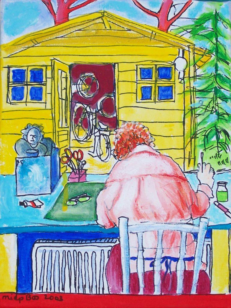 Ineke van Leeuwen in haar atelier Miep Bos