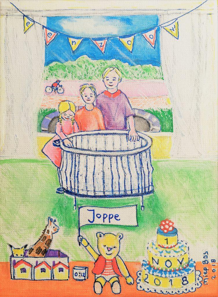 Geboorteschilderijtje Joppe, opdracht Miep Bos