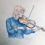 violiste kleurpotlood door Miep Bos