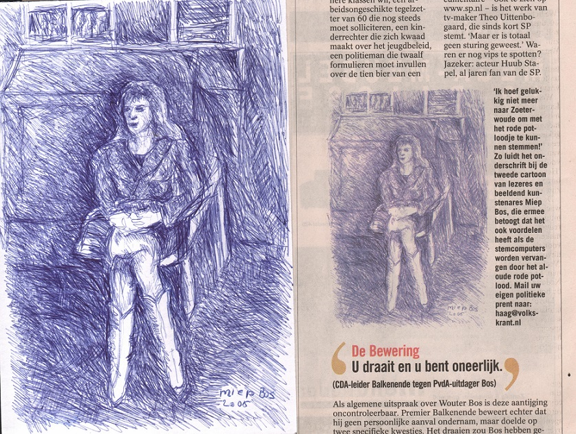 Volkskrant publicatie cartoon Miep Bos verkiezingen 2006