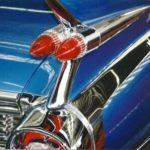 Cadillac blauw met vinnen